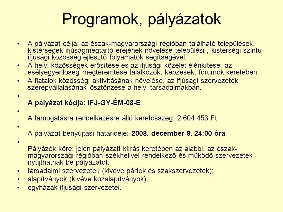 Programok, pályázatok A pályázat célja: az észak-magyarországi régióban található települések, kistérségek ifjúságmegtartó erejének növelése település