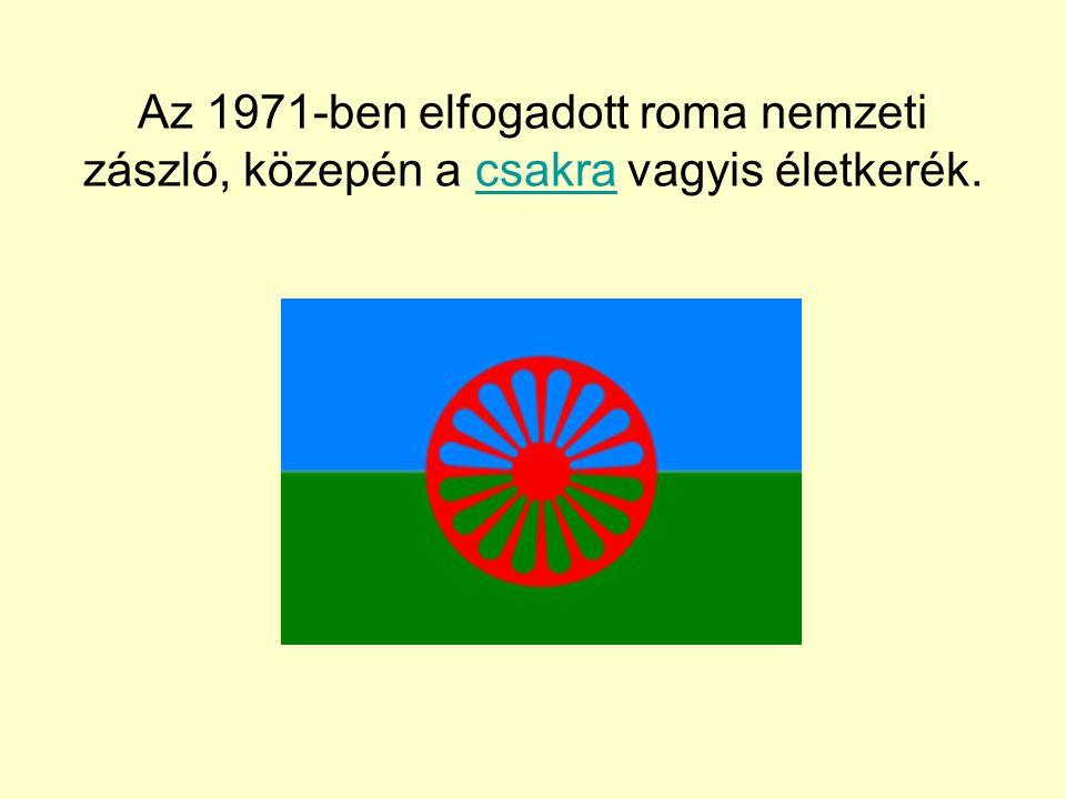 Az 1971-ben elfogadott roma nemzeti zászló, közepén a csakra vagyis életkerék.csakra