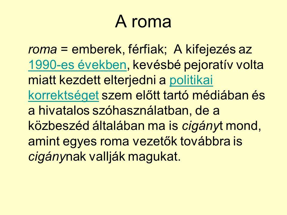 A roma roma = emberek, férfiak; A kifejezés az 1990-es években, kevésbé pejoratív volta miatt kezdett elterjedni a politikai korrektséget szem előtt t