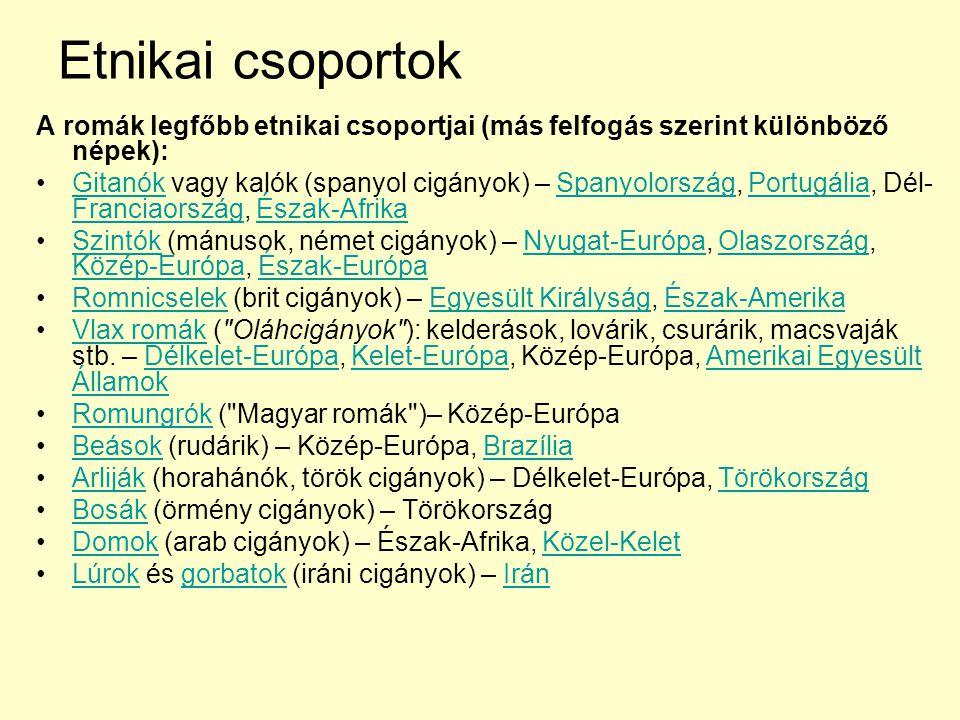 Etnikai csoportok A romák legfőbb etnikai csoportjai (más felfogás szerint különböző népek): Gitanók vagy kalók (spanyol cigányok) – Spanyolország, Po