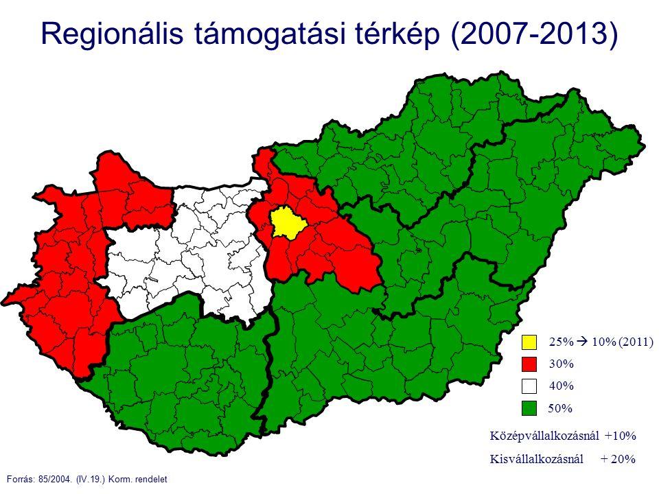 Regionális támogatási térkép (2007-2013) 30% 40% 25%  10% (2011) 50% Forrás: 85/2004.
