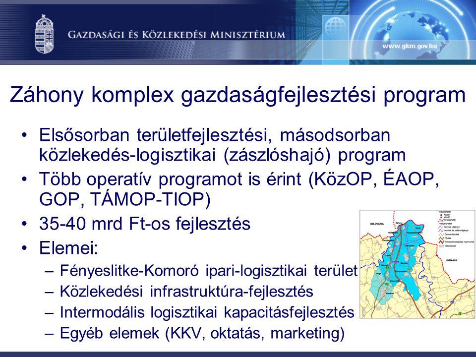 Záhony komplex gazdaságfejlesztési program Elsősorban területfejlesztési, másodsorban közlekedés-logisztikai (zászlóshajó) program Több operatív programot is érint (KözOP, ÉAOP, GOP, TÁMOP-TIOP) 35-40 mrd Ft-os fejlesztés Elemei: –Fényeslitke-Komoró ipari-logisztikai terület –Közlekedési infrastruktúra-fejlesztés –Intermodális logisztikai kapacitásfejlesztés –Egyéb elemek (KKV, oktatás, marketing)