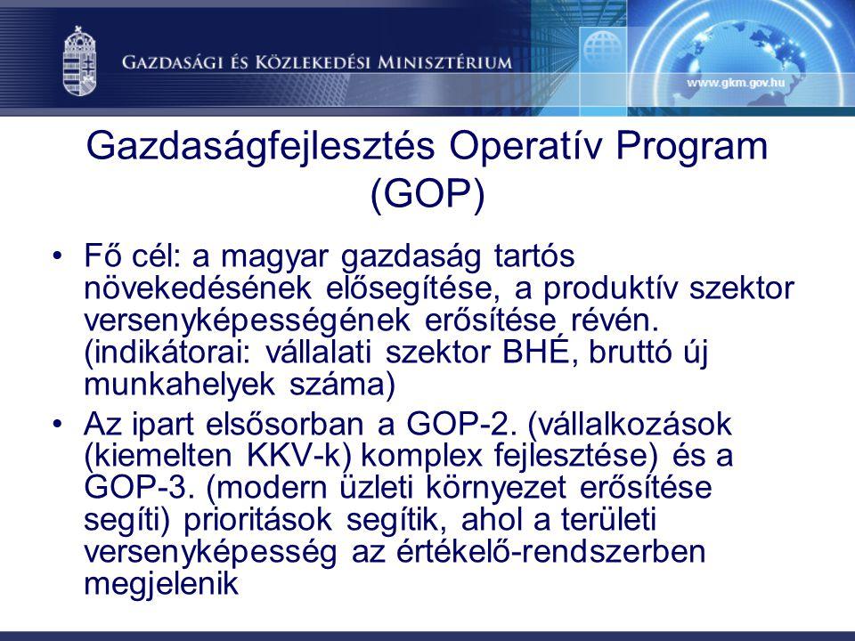 Gazdaságfejlesztés Operatív Program (GOP) Fő cél: a magyar gazdaság tartós növekedésének elősegítése, a produktív szektor versenyképességének erősítése révén.