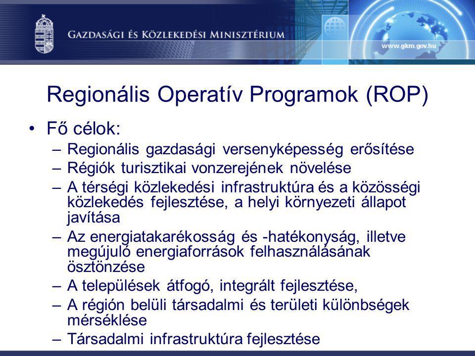 Regionális Operatív Programok (ROP) Fő célok: –Regionális gazdasági versenyképesség erősítése –Régiók turisztikai vonzerejének növelése –A térségi közlekedési infrastruktúra és a közösségi közlekedés fejlesztése, a helyi környezeti állapot javítása –Az energiatakarékosság és -hatékonyság, illetve megújuló energiaforrások felhasználásának ösztönzése –A települések átfogó, integrált fejlesztése, –A régión belüli társadalmi és területi különbségek mérséklése –Társadalmi infrastruktúra fejlesztése