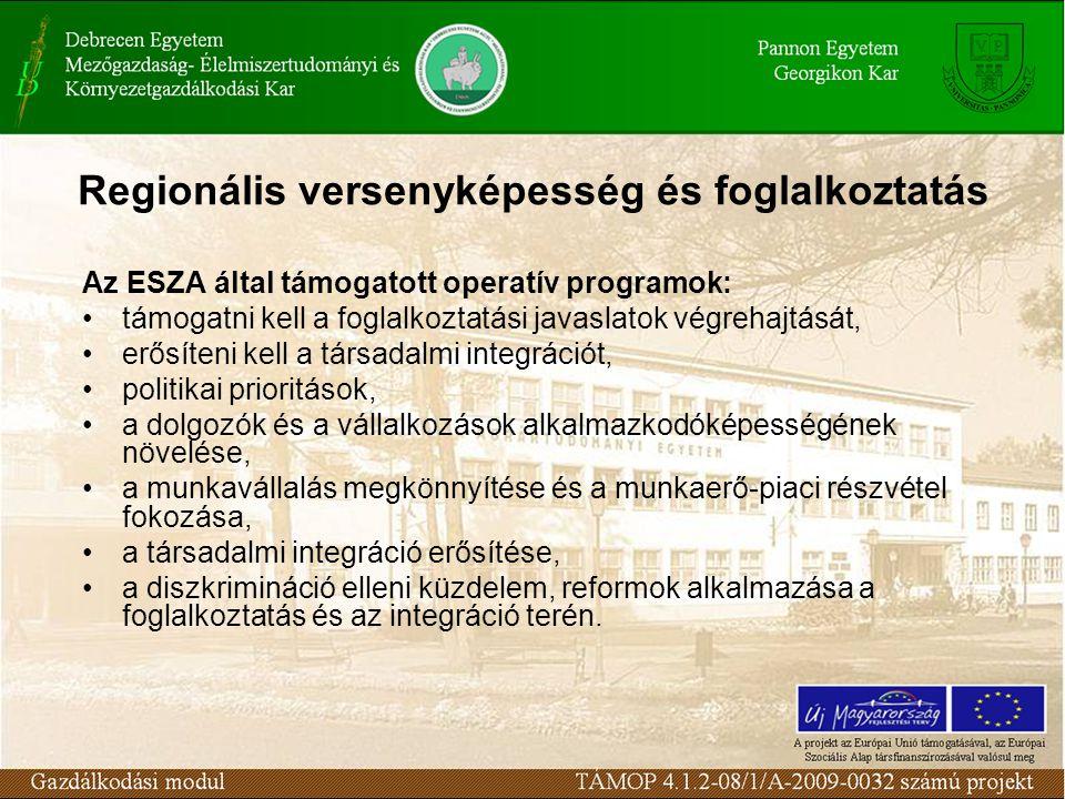 Regionális versenyképesség és foglalkoztatás Az ESZA által támogatott operatív programok: támogatni kell a foglalkoztatási javaslatok végrehajtását, erősíteni kell a társadalmi integrációt, politikai prioritások, a dolgozók és a vállalkozások alkalmazkodóképességének növelése, a munkavállalás megkönnyítése és a munkaerő-piaci részvétel fokozása, a társadalmi integráció erősítése, a diszkrimináció elleni küzdelem, reformok alkalmazása a foglalkoztatás és az integráció terén.