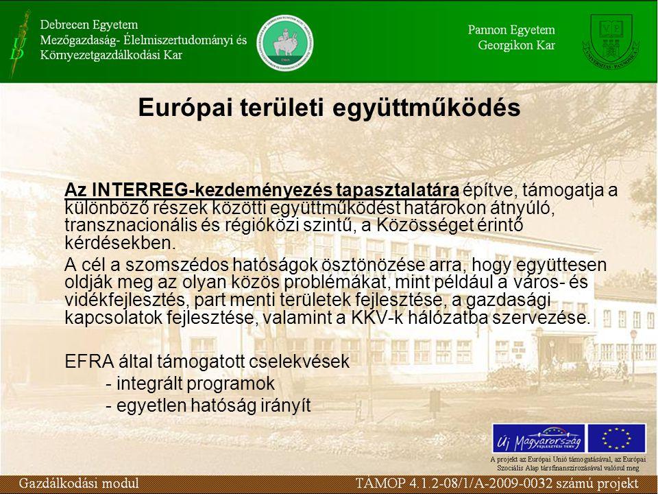 Európai területi együttműködés Az INTERREG-kezdeményezés tapasztalatára építve, támogatja a különböző részek közötti együttműködést határokon átnyúló, transznacionális és régióközi szintű, a Közösséget érintő kérdésekben.