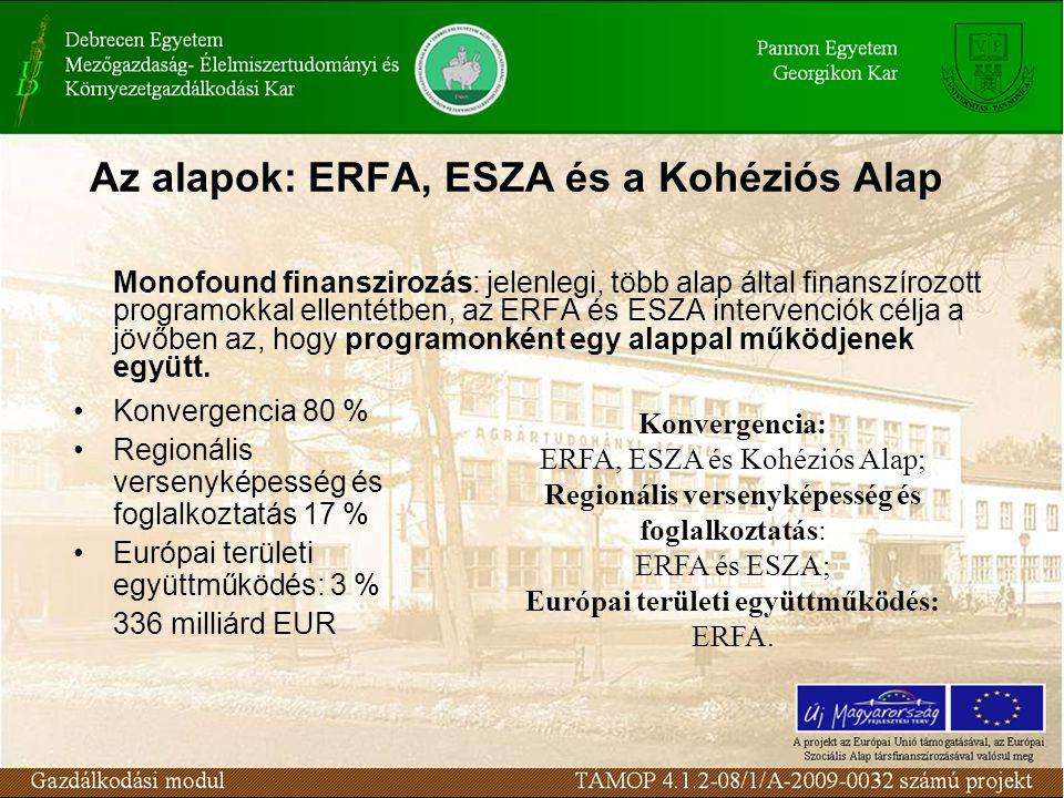 Az alapok: ERFA, ESZA és a Kohéziós Alap Monofound finanszirozás: jelenlegi, több alap által finanszírozott programokkal ellentétben, az ERFA és ESZA intervenciók célja a jövőben az, hogy programonként egy alappal működjenek együtt.