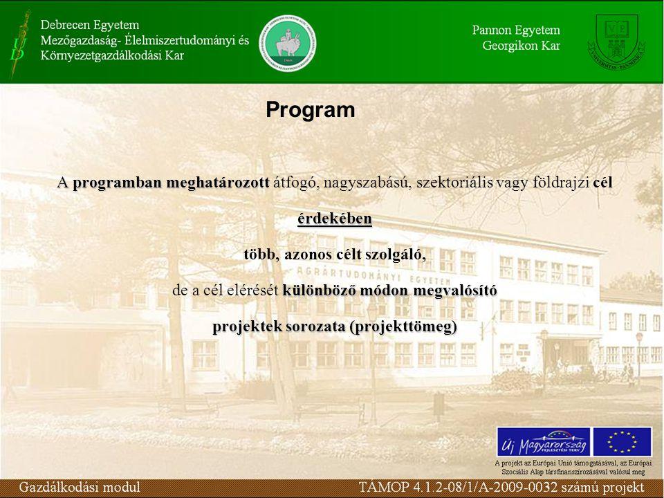 A programban meghatározott A programban meghatározott átfogó, nagyszabású, szektoriális vagy földrajzi célérdekében több, azonos célt szolgáló, különböző módon megvalósító de a cél elérését különböző módon megvalósító projektek sorozata (projekttömeg) Program