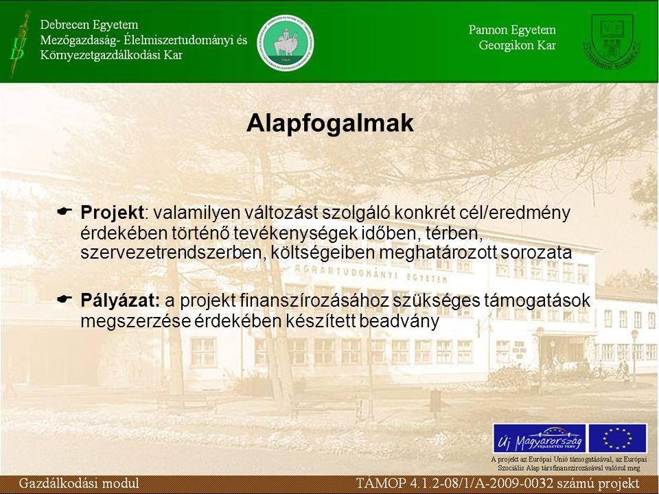 Alapfogalmak  Projekt: valamilyen változást szolgáló konkrét cél/eredmény érdekében történő tevékenységek időben, térben, szervezetrendszerben, költségeiben meghatározott sorozata  Pályázat: a projekt finanszírozásához szükséges támogatások megszerzése érdekében készített beadvány
