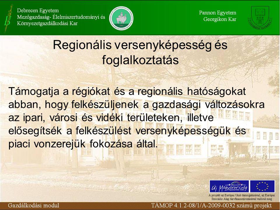 Regionális versenyképesség és foglalkoztatás Támogatja a régiókat és a regionális hatóságokat abban, hogy felkészüljenek a gazdasági változásokra az ipari, városi és vidéki területeken, illetve elősegítsék a felkészülést versenyképességük és piaci vonzerejük fokozása által.