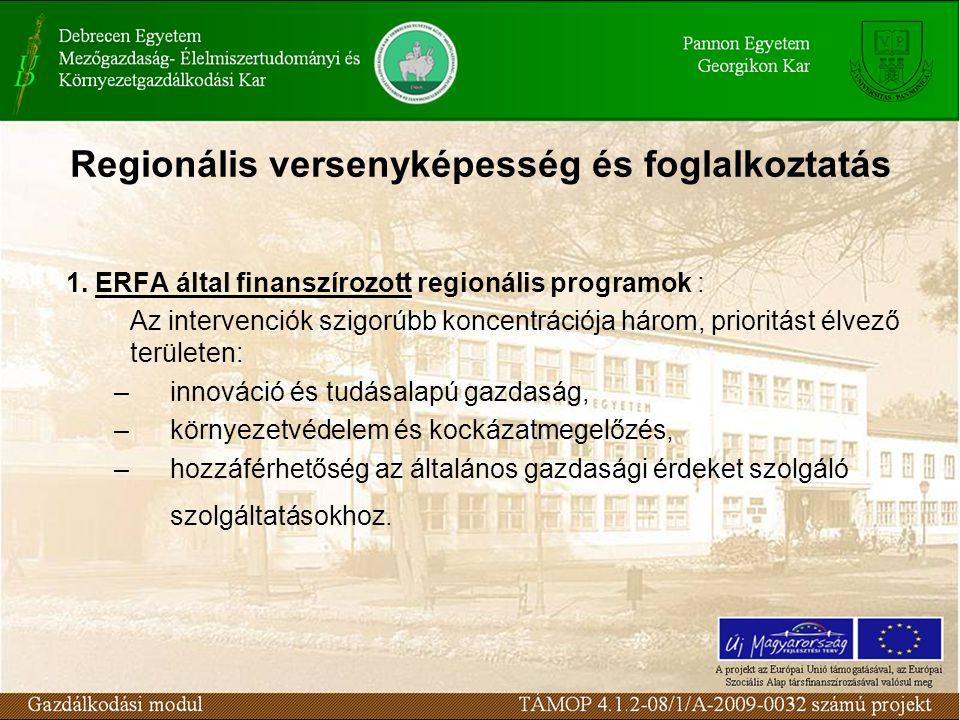 Regionális versenyképesség és foglalkoztatás 1.