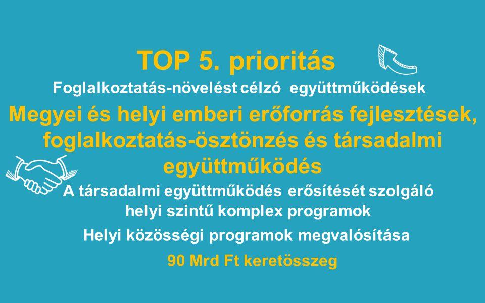 TOP 5. prioritás Megyei és helyi emberi erőforrás fejlesztések, foglalkoztatás-ösztönzés és társadalmi együttműködés 90 Mrd Ft keretösszeg Foglalkozta