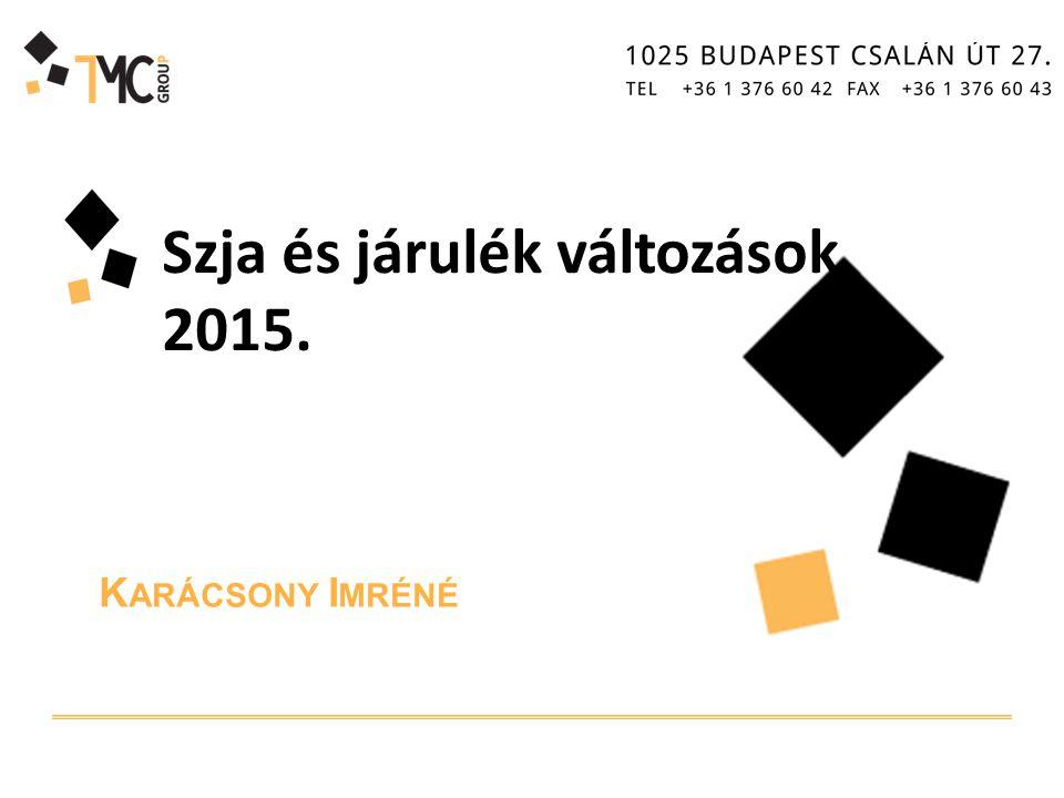K ARÁCSONY I MRÉNÉ Szja és járulék változások 2015.