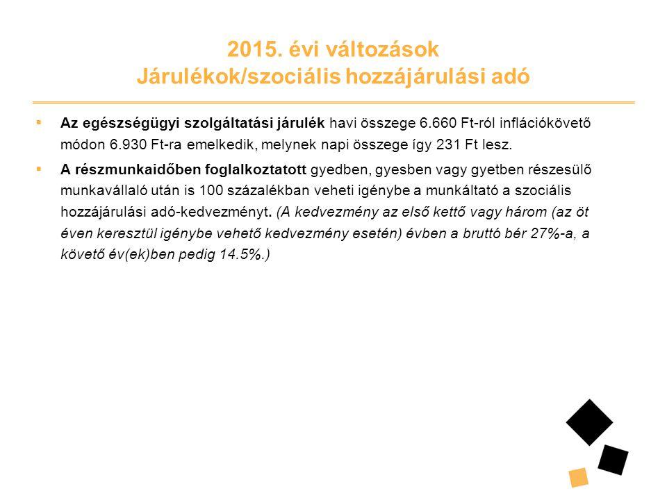2015. évi változások Járulékok/szociális hozzájárulási adó  Az egészségügyi szolgáltatási járulék havi összege 6.660 Ft-ról inflációkövető módon 6.93