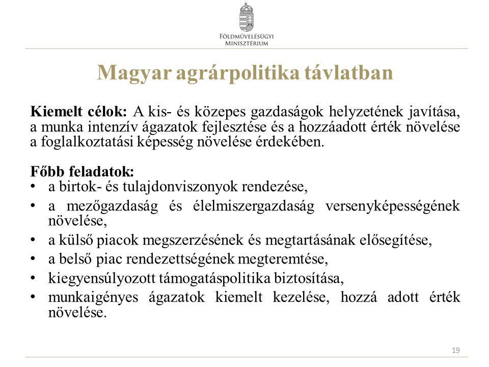 Magyar agrárpolitika távlatban Kiemelt célok: A kis- és közepes gazdaságok helyzetének javítása, a munka intenzív ágazatok fejlesztése és a hozzáadott