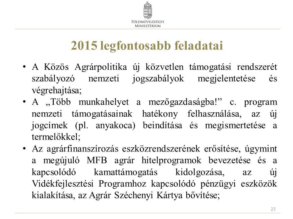 2015 legfontosabb feladatai A Közös Agrárpolitika új közvetlen támogatási rendszerét szabályozó nemzeti jogszabályok megjelentetése és végrehajtása; A