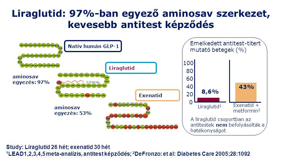 Emelkedett antitest-titert mutató betegek (%) Liraglutid 1 0 20 40 60 80 100 Exenatid + metformin 2 43% 8,6% A liraglutid csoportban az antitestek nem befolyásolták a hatékonyságot Study: Liraglutid 26 hét; exenatid 30 hét 1 LEAD1,2,3,4,5 meta-analízis, antitest képződés; 2 DeFronzo: et al: Diabetes Care 2005;28:1092 aminosav egyezés: 97% aminosav egyezés: 53% Natív humán GLP-1 Liraglutid Exenatid Liraglutid: 97%-ban egyező aminosav szerkezet, kevesebb antitest képződés C-16 zsírsav