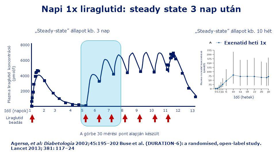 Napi 1x liraglutid: steady state 3 nap után Agersø, et al: Diabetologia 2002;45:195–202 Buse et al.