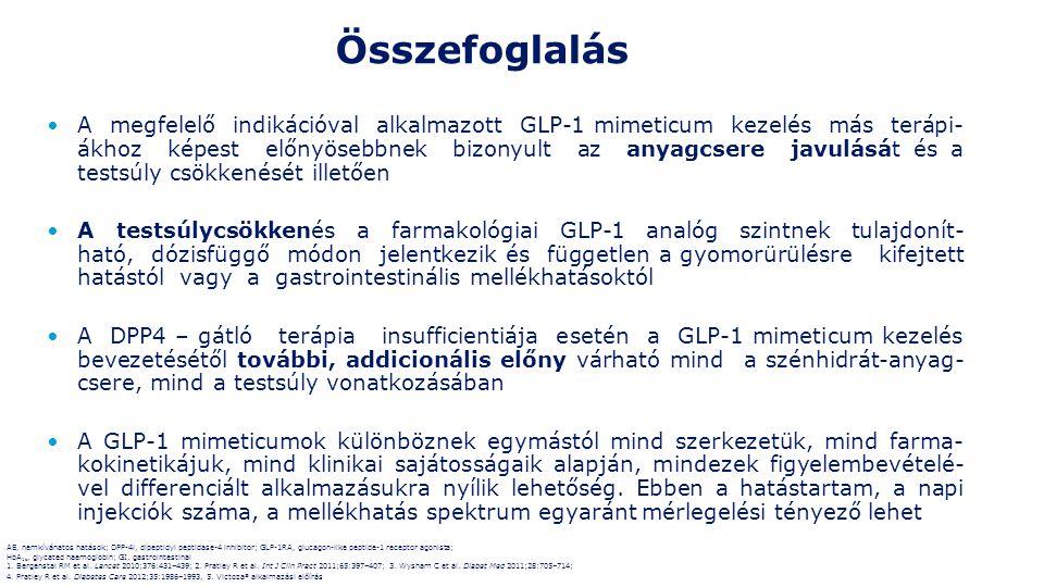 A megfelelő indikációval alkalmazott GLP-1 mimeticum kezelés más terápi- ákhoz képest előnyösebbnek bizonyult az anyagcsere javulását és a testsúly csökkenését illetően A testsúlycsökkenés a farmakológiai GLP-1 analóg szintnek tulajdonít- ható, dózisfüggő módon jelentkezik és független a gyomorürülésre kifejtett hatástól vagy a gastrointestinális mellékhatásoktól A DPP4 – gátló terápia insufficientiája esetén a GLP-1 mimeticum kezelés bevezetésétől további, addicionális előny várható mind a szénhidrát-anyag- csere, mind a testsúly vonatkozásában A GLP-1 mimeticumok különböznek egymástól mind szerkezetük, mind farma- kokinetikájuk, mind klinikai sajátosságaik alapján, mindezek figyelembevételé- vel differenciált alkalmazásukra nyílik lehetőség.