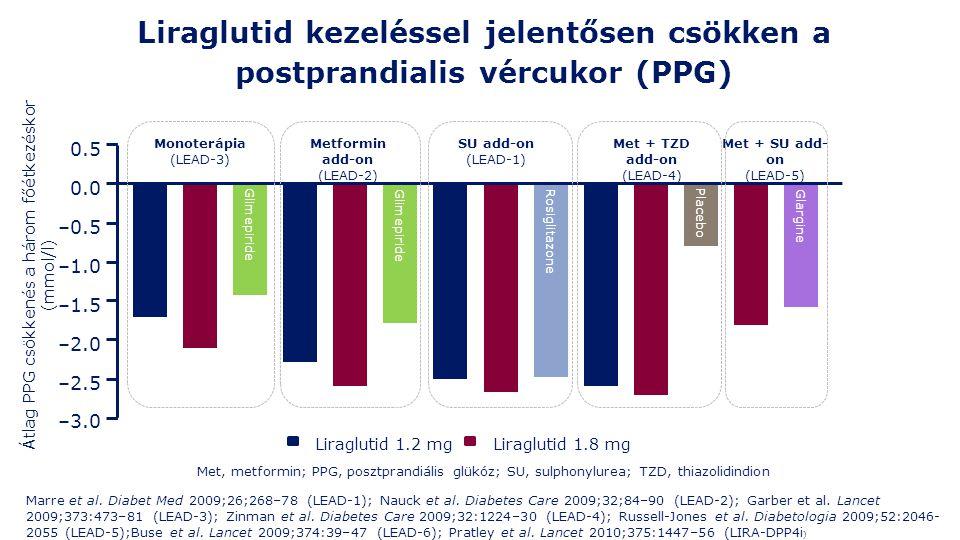 Liraglutid kezeléssel jelentősen csökken a postprandialis vércukor (PPG) Liraglutid 1.8 mgLiraglutid 1.2 mg Átlag PPG csökkenés a három főétkezéskor (mmol/l) Glimepiride Rosiglitazone Glargine Placebo 0.5 0.0 –0.5 –1.0 –1.5 –2.0 –2.5 –3.0 SU add-on (LEAD-1) Metformin add-on (LEAD-2) Met + TZD add-on (LEAD-4) Met + SU add- on (LEAD-5) Monoterápia (LEAD-3) Met, metformin; PPG, posztprandiális glükóz; SU, sulphonylurea; TZD, thiazolidindion Marre et al.