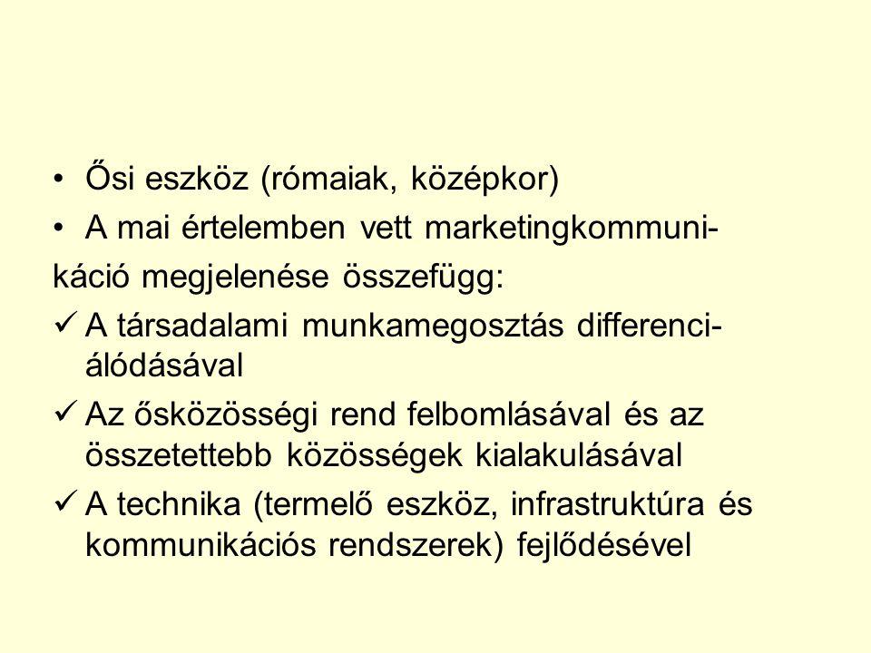 Ősi eszköz (rómaiak, középkor) A mai értelemben vett marketingkommuni- káció megjelenése összefügg: A társadalami munkamegosztás differenci- álódásával Az ősközösségi rend felbomlásával és az összetettebb közösségek kialakulásával A technika (termelő eszköz, infrastruktúra és kommunikációs rendszerek) fejlődésével