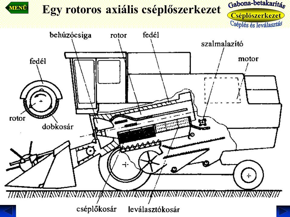 Egy rotoros axiális cséplőszerkezet. MENÜ Cséplőszerkezet