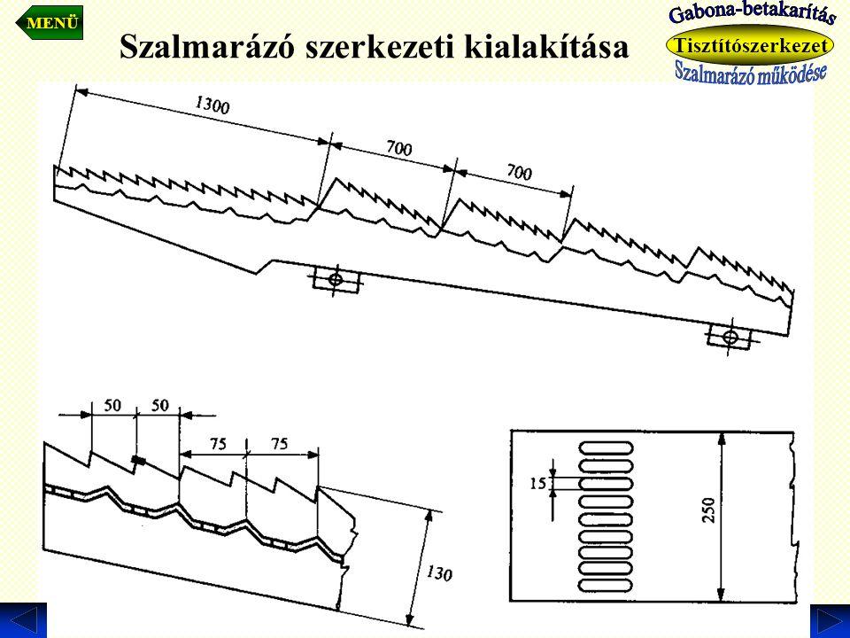 Szalmarázó szerkezeti kialakítása. MENÜ Tisztítószerkezet