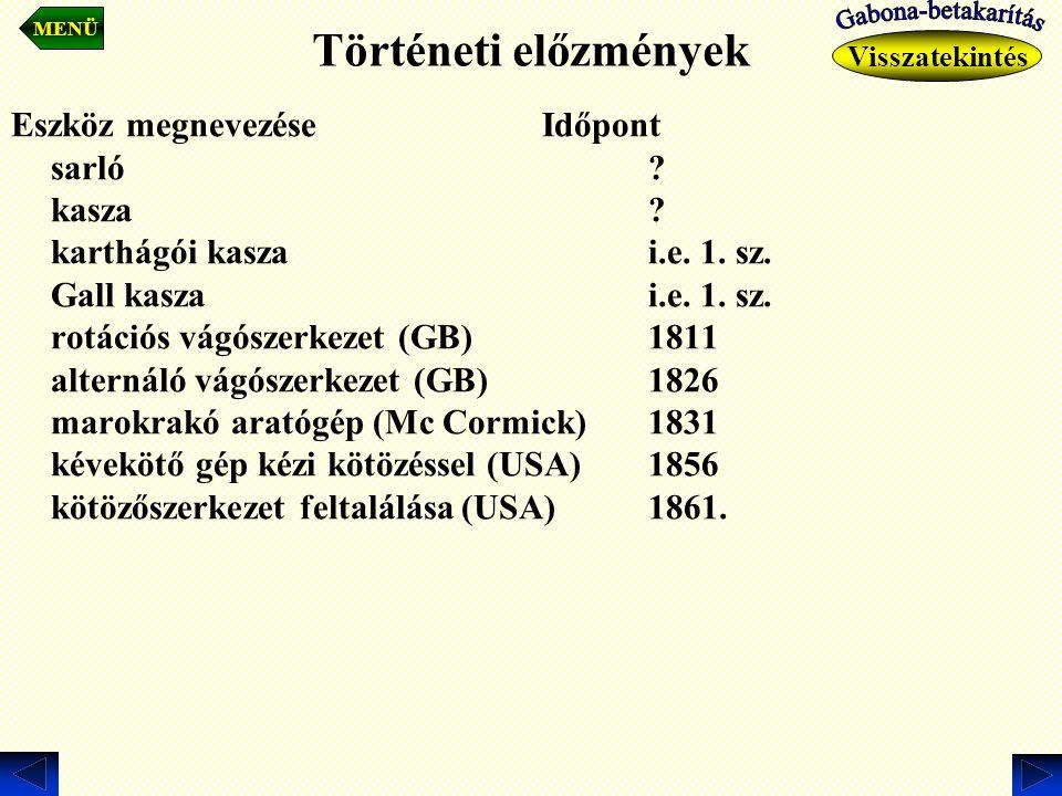 Történeti előzmények Eszköz megnevezése Időpont sarló? kasza? karthágói kaszai.e. 1. sz. Gall kaszai.e. 1. sz. rotációs vágószerkezet (GB)1811 alterná
