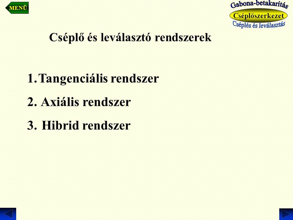 Cséplő és leválasztó rendszerek 1.Tangenciális rendszer 2. Axiális rendszer 3. Hibrid rendszer MENÜ Cséplőszerkezet