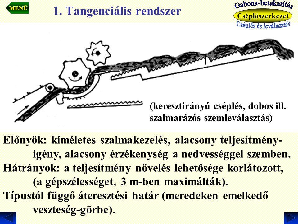 1. Tangenciális rendszer (keresztirányú cséplés, dobos ill. szalmarázós szemleválasztás) MENÜ Előnyök: kíméletes szalmakezelés, alacsony teljesítmény-