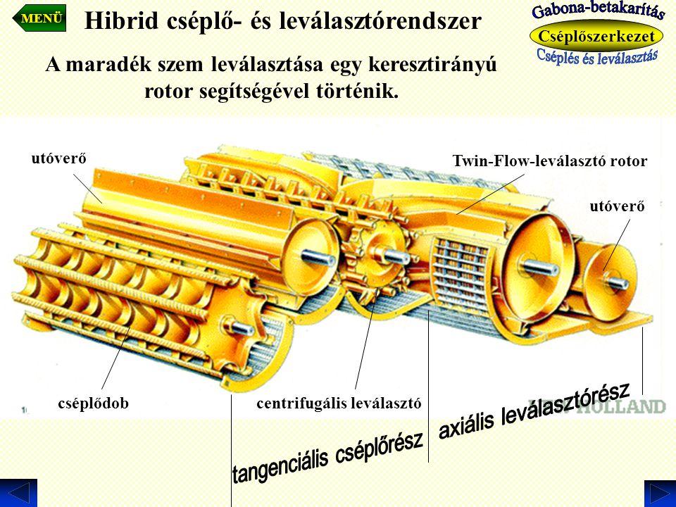 cséplődob utóverő centrifugális leválasztó Twin-Flow-leválasztó rotor utóverő A maradék szem leválasztása egy keresztirányú rotor segítségével történi