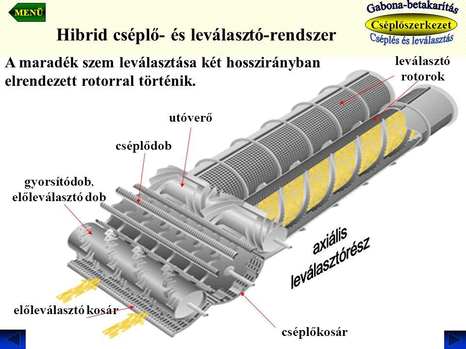 Hibrid cséplő- és leválasztó-rendszer előleválasztó kosár cséplődob utóverő gyorsítódob, előleválasztó dob cséplőkosár leválasztó rotorok MENÜ Cséplős