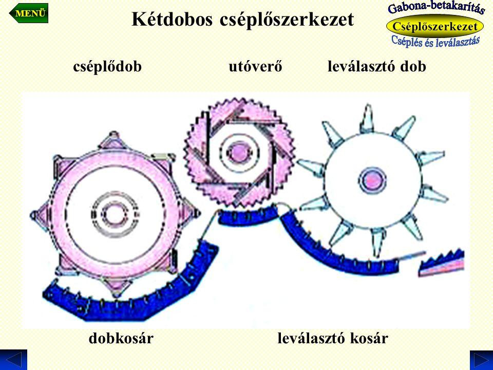 Kétdobos cséplőszerkezet MENÜ Cséplőszerkezet cséplődob utóverő leválasztó dob dobkosár leválasztó kosár