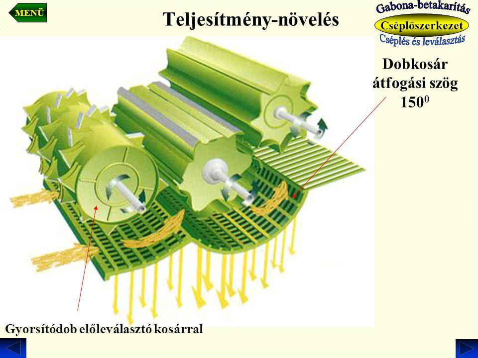 Teljesítmény-növelés Gyorsítódob előleválasztó kosárral Dobkosár átfogási szög 150 0 MENÜ Cséplőszerkezet