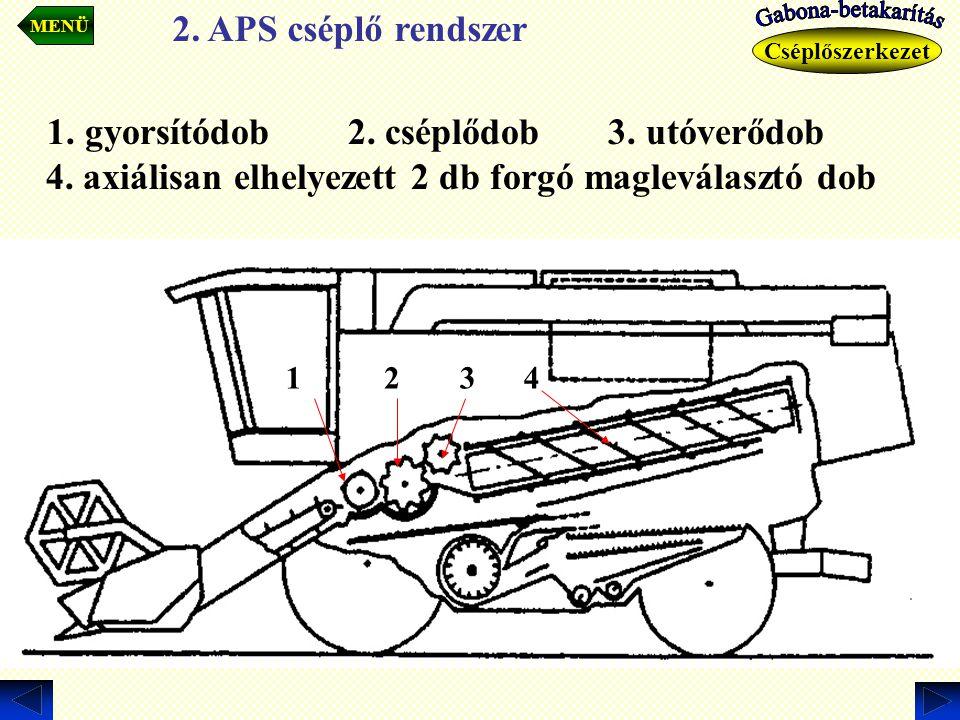 1. gyorsítódob 2. cséplődob 3. utóverődob 4. axiálisan elhelyezett 2 db forgó magleválasztó dob. MENÜ 2. APS cséplő rendszer 123 4