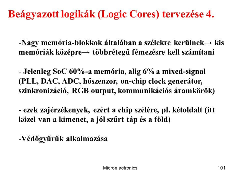 Microelectronics101 Beágyazott logikák (Logic Cores) tervezése 4. -Nagy memória-blokkok általában a szélekre kerülnek→ kis memóriák középre→ többréteg