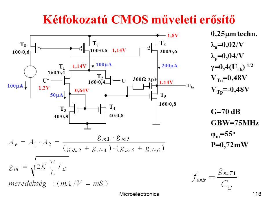 Microelectronics118 Kétfokozatú CMOS műveleti erősítő T1T1 T2T2 T8T8 T6T6 T5T5 T4T4 T3T3 T7T7 U+U+ U-U- 100  A 200  A 1,14V 50  A 100/0,6 1,8V 0,64