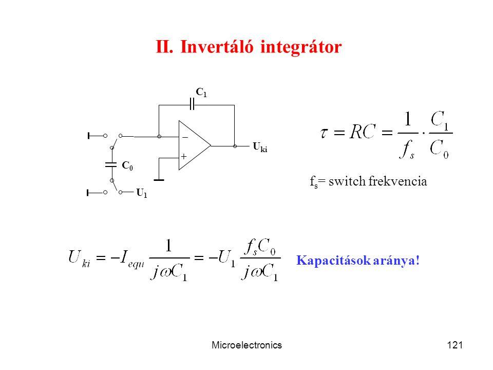 Microelectronics121 II. Invertáló integrátor C1C1 + C0C0 U1U1 U ki Kapacitások aránya! f s = switch frekvencia