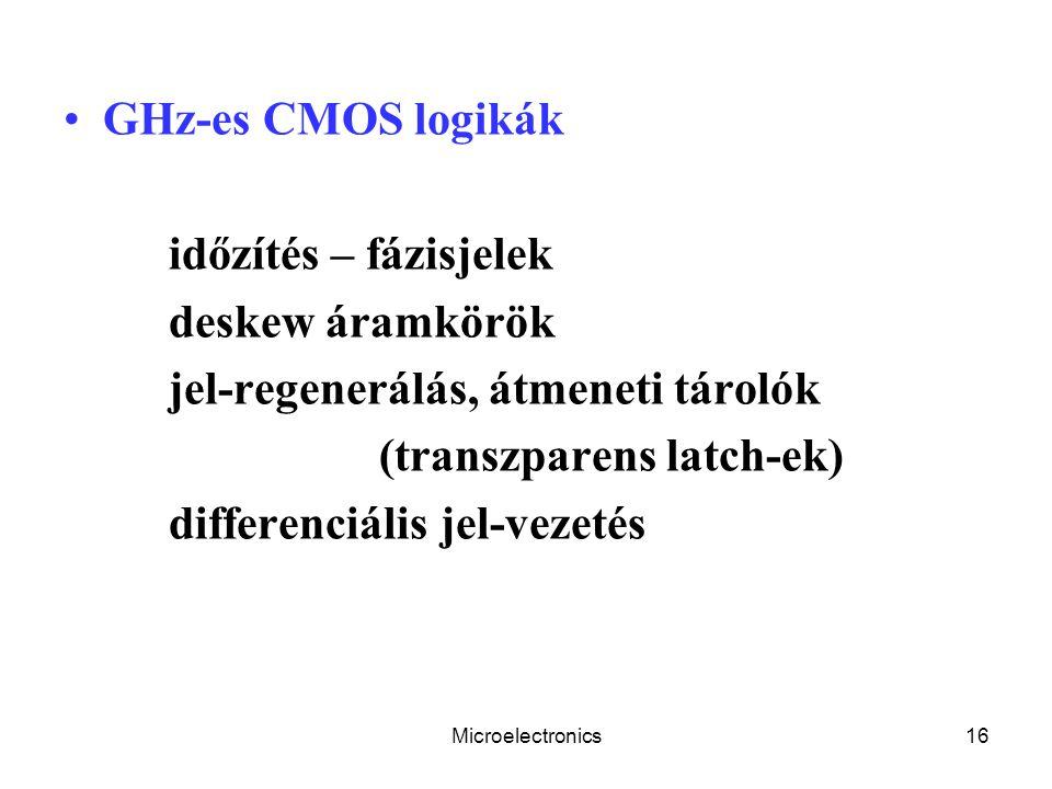 Microelectronics16 GHz-es CMOS logikák időzítés – fázisjelek deskew áramkörök jel-regenerálás, átmeneti tárolók (transzparens latch-ek) differenciális jel-vezetés
