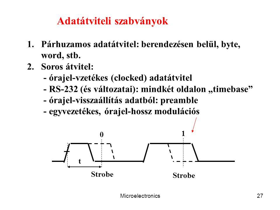 Microelectronics27 Adatátviteli szabványok 1.Párhuzamos adatátvitel: berendezésen belül, byte, word, stb. 2.Soros átvitel: - órajel-vzetékes (clocked)
