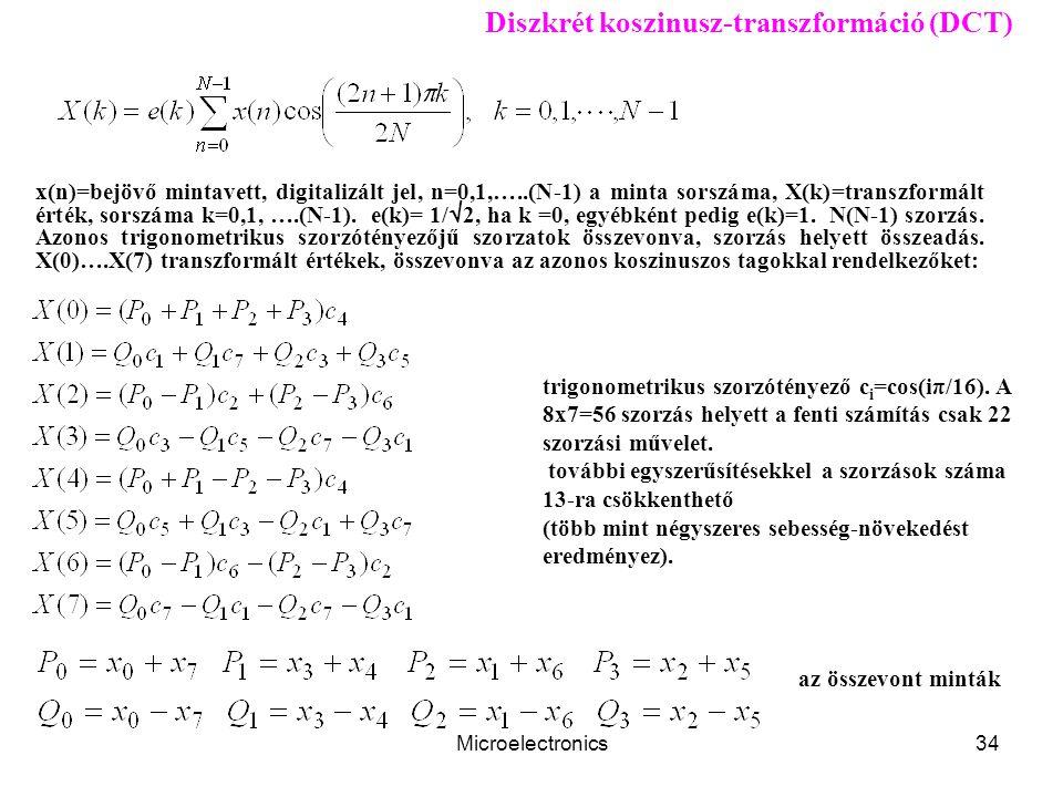 Microelectronics34 Diszkrét koszinusz-transzformáció (DCT) x(n)=bejövő mintavett, digitalizált jel, n=0,1,…..(N-1) a minta sorszáma, X(k)=transzformált érték, sorszáma k=0,1, ….(N-1).