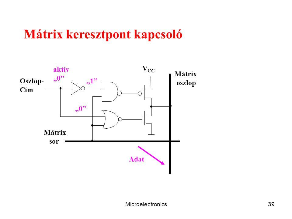 """Microelectronics39 Mátrix keresztpont kapcsoló V CC Mátrix oszlop Oszlop- Cím Mátrix sor Adat aktív """"0 """"1"""