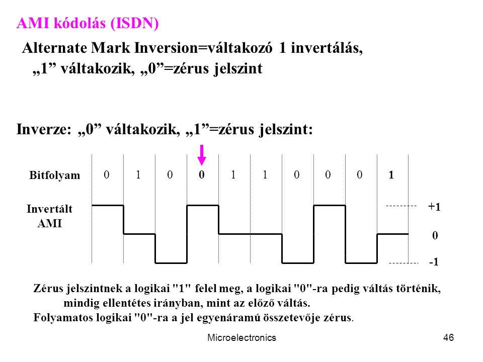 """Microelectronics46 AMI kódolás (ISDN) Alternate Mark Inversion=váltakozó 1 invertálás, """"1"""" váltakozik, """"0""""=zérus jelszint Inverze: """"0"""" váltakozik, """"1"""""""