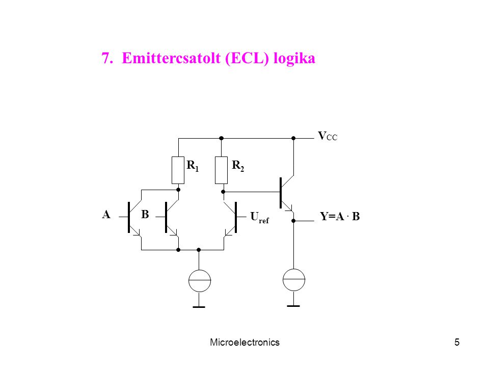 Microelectronics56 U szab V CC L1L1 L8L8 C2C2 T1T1 T2T2 U ki + U be + U be U ki V CC T3T3 T4T4 T7T7 T6T6 T5T5 T8T8 L7L7 L4L4 L6L6 L5L5 L3L3 L2L2 C1C1 U ref Differenciális felépítésű szabályozható erősítő Referencia-fesz.
