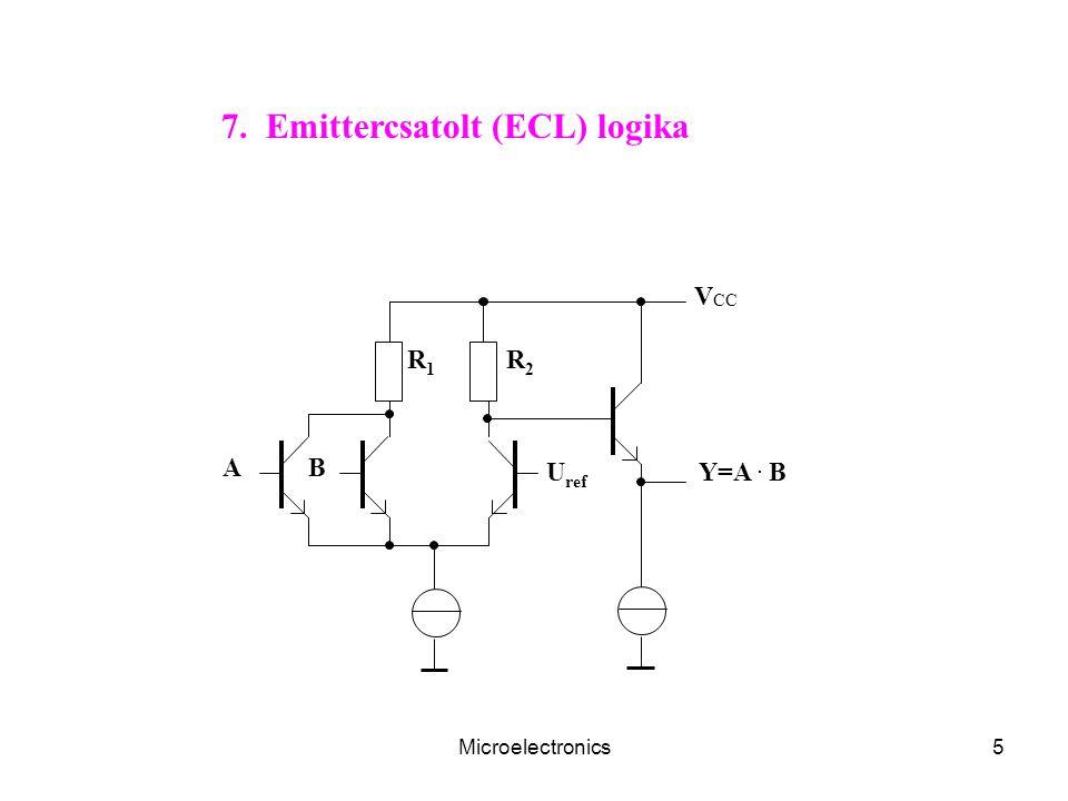 Microelectronics6 n T1T1 Q1Q1 n n Q2Q2 CtCt V CC T2T2 T3T3 T4T4 A A 8. BiCMOS logika