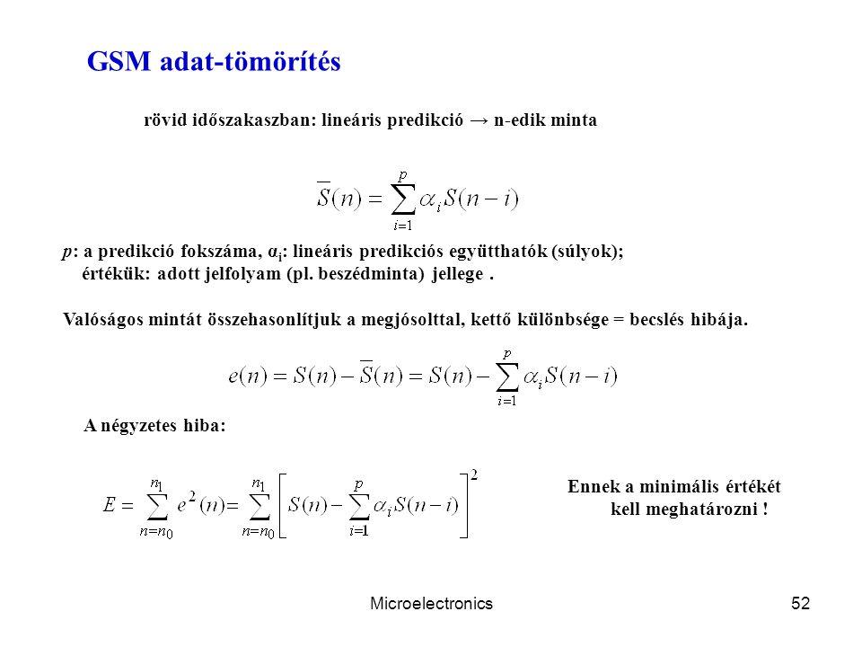 Microelectronics52 GSM adat-tömörítés rövid időszakaszban: lineáris predikció → n-edik minta p: a predikció fokszáma, α i : lineáris predikciós együtthatók (súlyok); értékük: adott jelfolyam (pl.