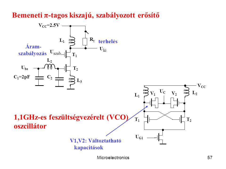 Microelectronics57 V CC V1V1 U G1 L2L2 T2T2 L1L1 T1T1 UCUC V2V2 C 1 =2pF U szab V CC =2.5V L1L1 L2L2 L3L3 C2C2 RtRt T1T1 T2T2 U ki U be Bemeneti π-tag