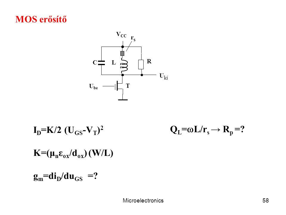 Microelectronics58 C V CC L R T U ki U be MOS erősítő I D =K/2 (U GS -V T ) 2 K=(μ n ε ox /d ox ) (W/L) g m =di D /du GS =? rsrs Q L =  L/r s → R p =