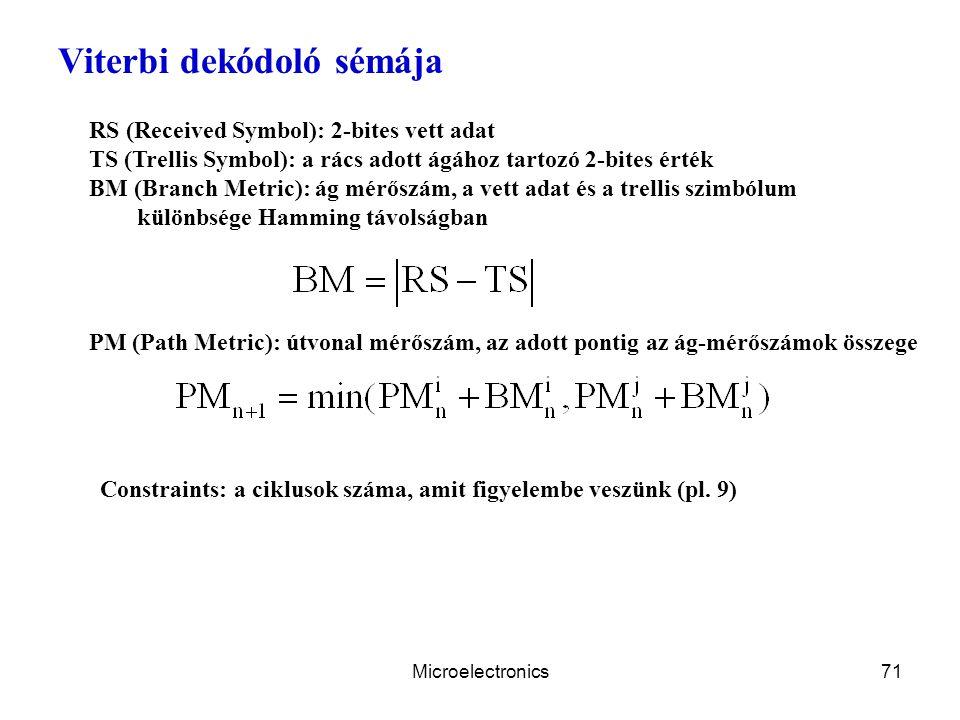 Microelectronics71 Viterbi dekódoló sémája RS (Received Symbol): 2-bites vett adat TS (Trellis Symbol): a rács adott ágához tartozó 2-bites érték BM (Branch Metric): ág mérőszám, a vett adat és a trellis szimbólum különbsége Hamming távolságban PM (Path Metric): útvonal mérőszám, az adott pontig az ág-mérőszámok összege Constraints: a ciklusok száma, amit figyelembe veszünk (pl.