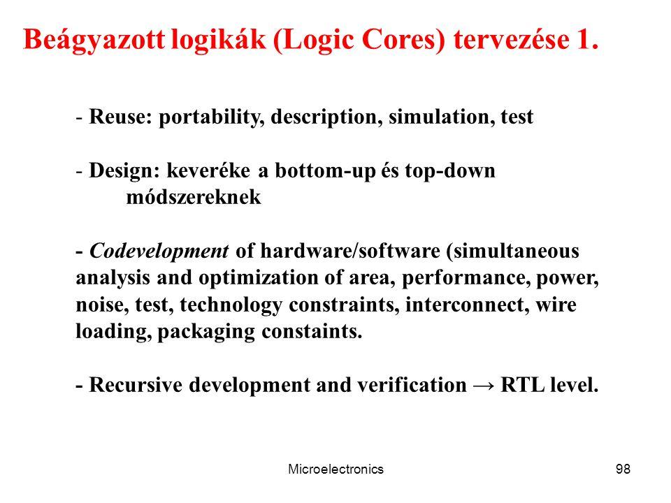 Microelectronics98 Beágyazott logikák (Logic Cores) tervezése 1. - Reuse: portability, description, simulation, test - Design: keveréke a bottom-up és